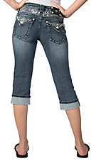 Miss Me® Womens Medium Wash with Zebra & Mini Horseshoe Embroidery Flap Pocket Cuffed Capri Jeans