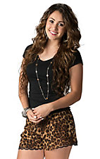 Karlie Women's Brown Leopard Chiffon with Lace Trim Shorts