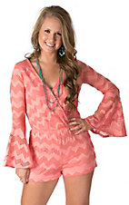 Karlie Women's Coral Chevron Lace Long Sleeves V-Neck Romper