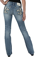 Miss Me Women's Light Wash with White Leather Fleur De Lis & Hearts Boot Cut Jean