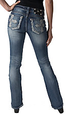 Miss Me Light Wash Embroidered Cross with Crystals Open Pocket Boot Cut Jeans