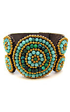 Pannee® Turquoise, Teal and Gold Beaded Brown Leather Cuff