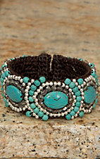 Pannee® Turquoise & Silver Beads w/ Smokey Crystals Brown Rope Cuff