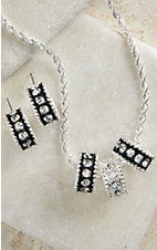 Montana Silversmiths® Silver with Black Crystal Shine Necklace & Earrings Jewelry Set