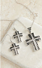 Montana Silversmiths® Silver Cross Scroll Engrave Jewelry Set