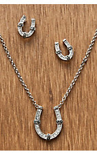 Montana Silversmiths® Silver Horseshoe Crystal Jewelry Set