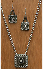 Montana Silversmiths® Antiqued Silver Square Horseshoe with Crystals Jewelry Set