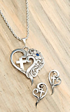 Montana Silversmiths® True Blue A Heart Open to Faith Necklace & Earing Set