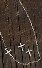 Montana Silversmiths Cubic Zirconia Small Cross Necklace & Earrings Jewelry Set