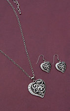 Montana Silversmiths Filigree & Crystal Silver Heart Jewelry Set JS1848