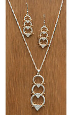 Montana Silversmiths® Silver with Gold Triple Barbed Wire Links Jewelry Set