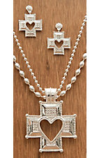 Montana Silversmiths® Silver Heart Cross Crystal Encrusted Jewelry Set
