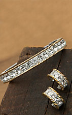 Montana Silversmiths® Two-toned Crystals Bracelet and Earrings Jewelry Set