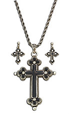 Montana Silversmiths® Silver Cross with Black Inlay Jewelry Set