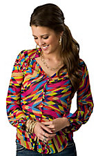 Karlie® Women's Bright Geometric Kaleidoscope Long Sleeve Button Down Fashion Top