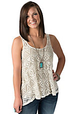 Karlie Women's Natural Crochet Boho Sleeveless Tank Fashion Top