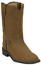 Basics By Justin® Ladies Brown Crazy Cow Roper Boots