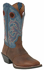 Justin® Stampede Collection™ Men's Dark Brown & Blue Jean Square Toe Western Boots