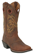 Justin Stampede Collection Men's Dark Brown Rawhide Square Toe Western Boots