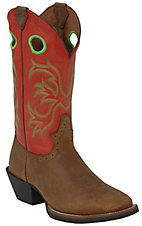 Justin® Stampede™ Men's Brown Rawhide w/ Tobasco Top Square Toe Western Boot