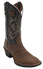 Justin Stampede Men's Distressed Tan w/Black Top Saddle Vamp Double Welt Square Toe Western Boots