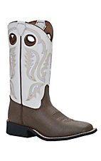 Justin® Kids Chocolate Brown w/ White Top Square Toe Western Boots