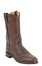 Justin Men's Dark Brown Marbled Deerlite Premium Leather Roper Boots