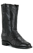 Justin Mens Black Full Quill Ostrich Exotic Roper Boots