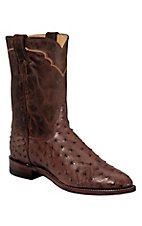 Justin® Men's Antique Brown Vintage Full Quill Ostrich Exotic Roper Boots