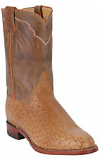 Justin® Men's Antique Tan Brown Vintage Smooth Ostrich Exotic Roper Boots