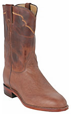 Justin® Mens Vintage Brown Smooth Ostrich with Dark Brown Exotic Roper Boots