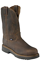Justin Original Workboots Men's Rugged Bay Gaucho Brown JMAX Steel Toe Pull On Boot
