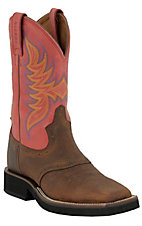 Justin® Tekno Crepe™ Men's Dark Brown & Red Dusty Square Toe Crepe Boots