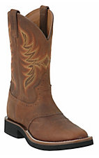 Justin Tekno Crepe Men's Dark Brown Rawhide Crepe Sole Boots