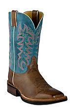 Justin® AQHA Q-Crepe™ Men's Arizona Mocha Brown w/ Teal Top Square Toe Western Boots