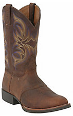 Justin Stampede Collection Men's Dark Brown Oiled Western Boots