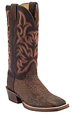 Justin® AQHA Remuda™ Mens Cognac Safari Elephant w/ Brown Jurassic Goat Top Exotic Square Toe Boots