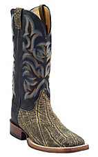Justin® AQHA Remuda™ Mens Antique Saddle Elephant w/ Black Jurassic Goat Top Exotic Square Toe Boots