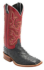 Justin AQHA Remuda Mens Black Full Quill Ostrich w/Red Top Exotic Square Toe Boots