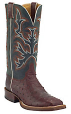 Justin AQHA Remuda Mens Brandy Full Quill Ostrich w/ Cypress Jurassic Goat Top Exotic Square Toe Boot