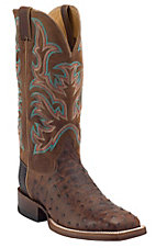Justin® AQHA Remuda™ Mens Antique Saddle Full Quill Ostrich w/ Brandy Jurassic Goat Top Exotic Square Toe Boot