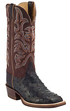 Justin AQHA Remuda Mens Nicotine Full Quill Ostrich w/ Tiger Jurassic Goat Top Exotic Square Toe Boot
