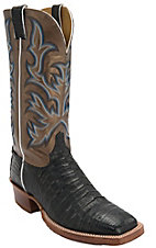 Justin AQHA Remuda Mens Black Vintage Caiman Belly w/Bronze Top Exotic Square Toe Western Boots