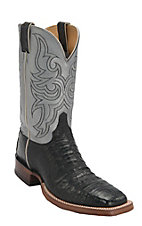Justin AQHA Remuda Mens Black Vintage Caiman Belly w/Pewter Top Exotic Square Toe Western Boots