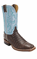 Justin AQHA Remuda Mens Chocolate Vintage Caiman Belly w/Sky Blue Top Exotic Square Toe Western Boots