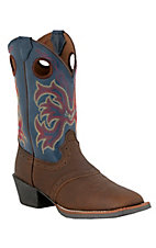 Justin® Stampede™ Kids Dark Brown and Jean Saddle Vamp Square Toe Western Boots