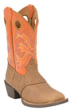Justin® Stampede™ Youth Distressed Brown w/ Orange Top Saddle Vamp Square Toe Boots
