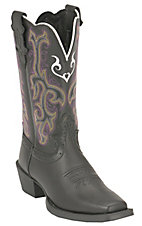 Justin® Stampede™ Youth Black Square Toe Western Boots