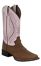 Justin®Children's Bay Westerner w/ Saddle Vamp Pink Cowhide
