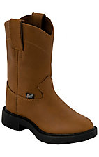 Justin® Childrens Aged Bark Brown Slip-On Western Rubber Sole Work Boots